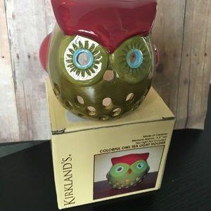 Kirklands brand glass owl tea light holder